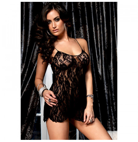 Babydoll rose lace flair black